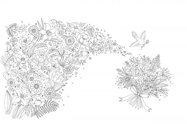 The beautiful flowers and landscapes of the world - Japanese coloring book