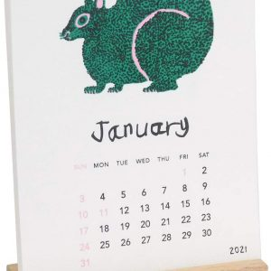 Miroco Machiko - 2021 desk calendar with wooden stand - Japanese Art