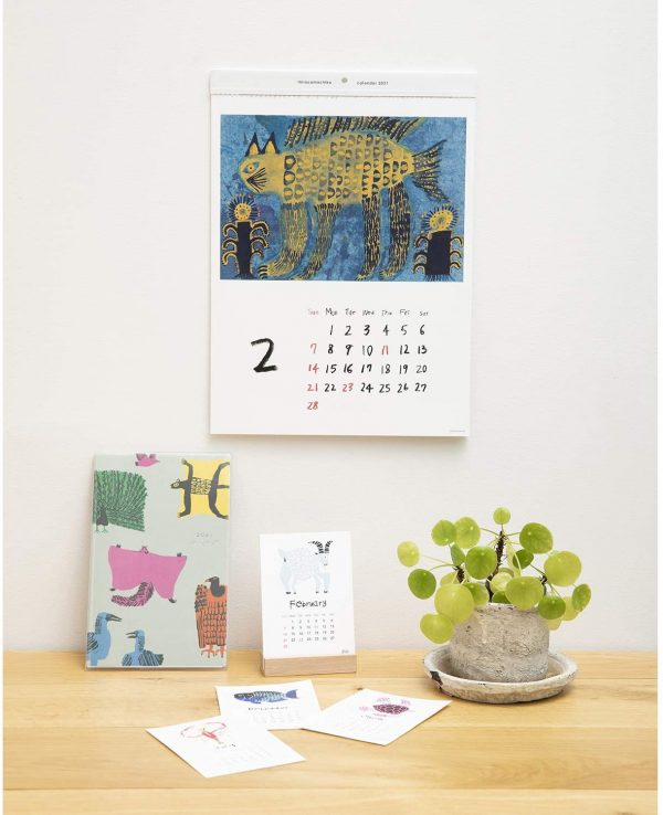 Miroco Machiko - 2021 desk calendar with wooden stand - Japanese Art